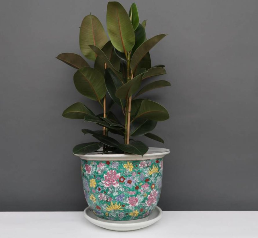 Blumentopf mit Untersetzer aus Porzellan Grünmalerei Blumenmotiv Ø 20cm