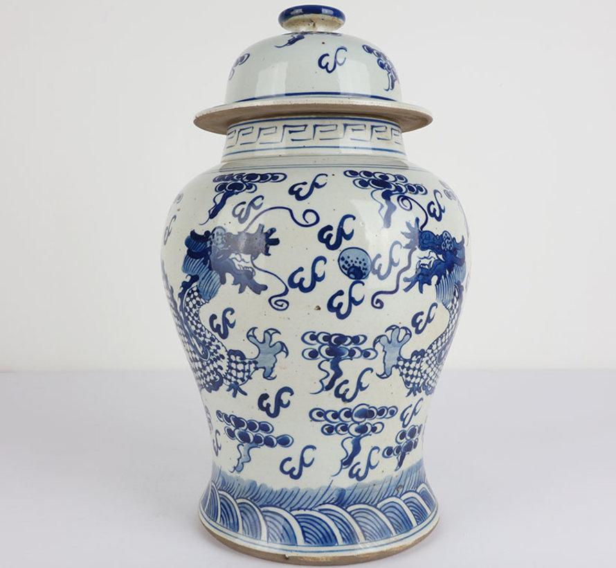 Chinesische Porzellan Deckelvase 35 cm hoch Ø 22cm Drache
