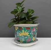 Yajutang Flowerpot green & colorful flowers Ø 17