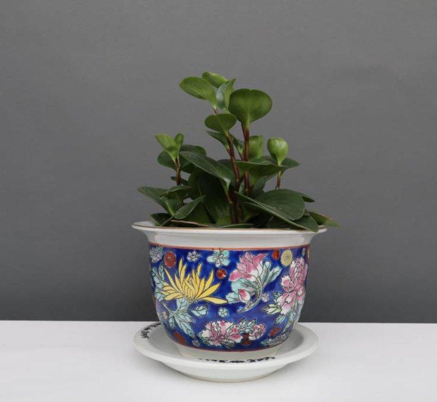 China Porzellan Blumentopf  Blau mit bunten Blumen Ø 17cm