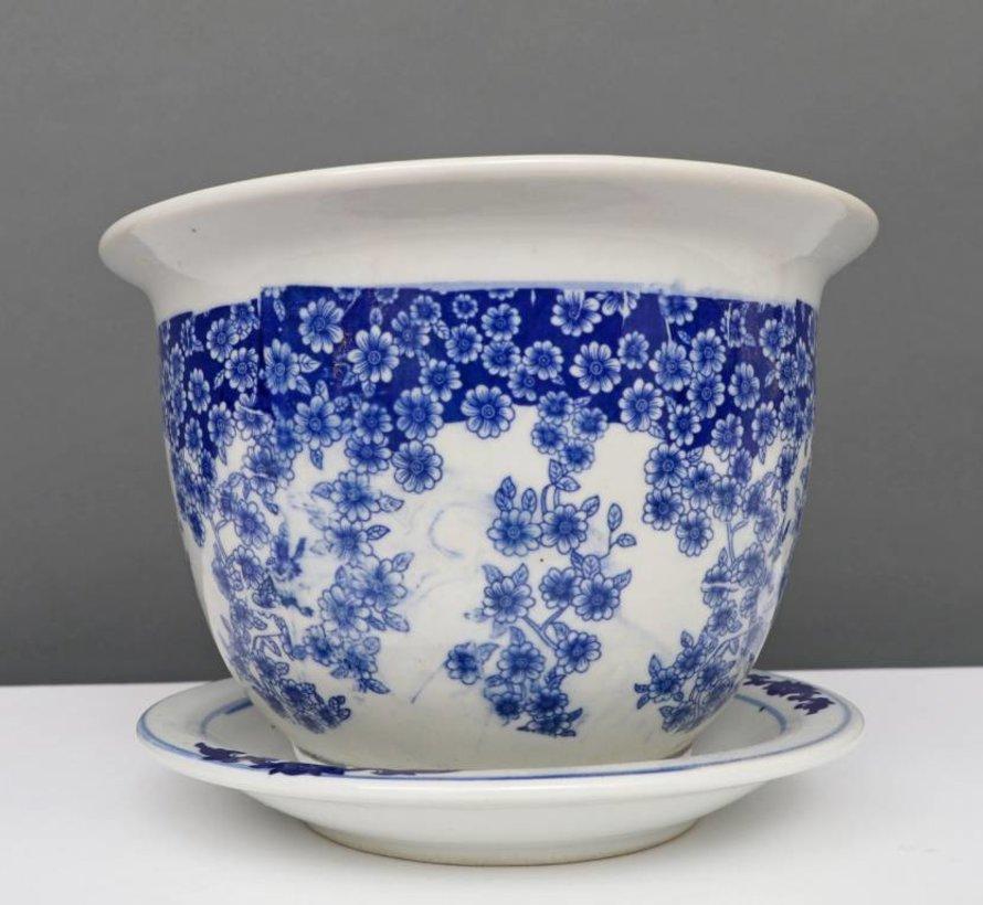 China Porzellan Blumentopf Blau-Weiß mit Schmetterling Ø 33cm