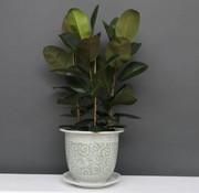 Yajutang Flowerpot white-green & snail leaf Ø33