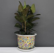 Yajutang Flowerpot yellow & colorful flowers Ø 40