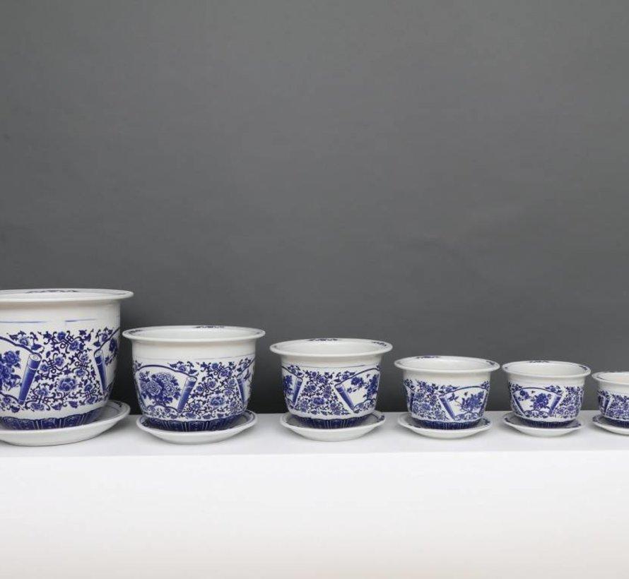 China porcelain flowerpot blue-white with peony flower Ø33cm