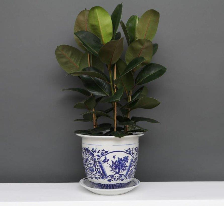 China Porzellan Blumentopf Blau-Weiß mit Pfingstrose Ø 33cm