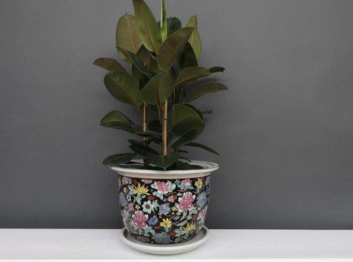 Yajutang Flowerpot black & colorful flowers Ø33
