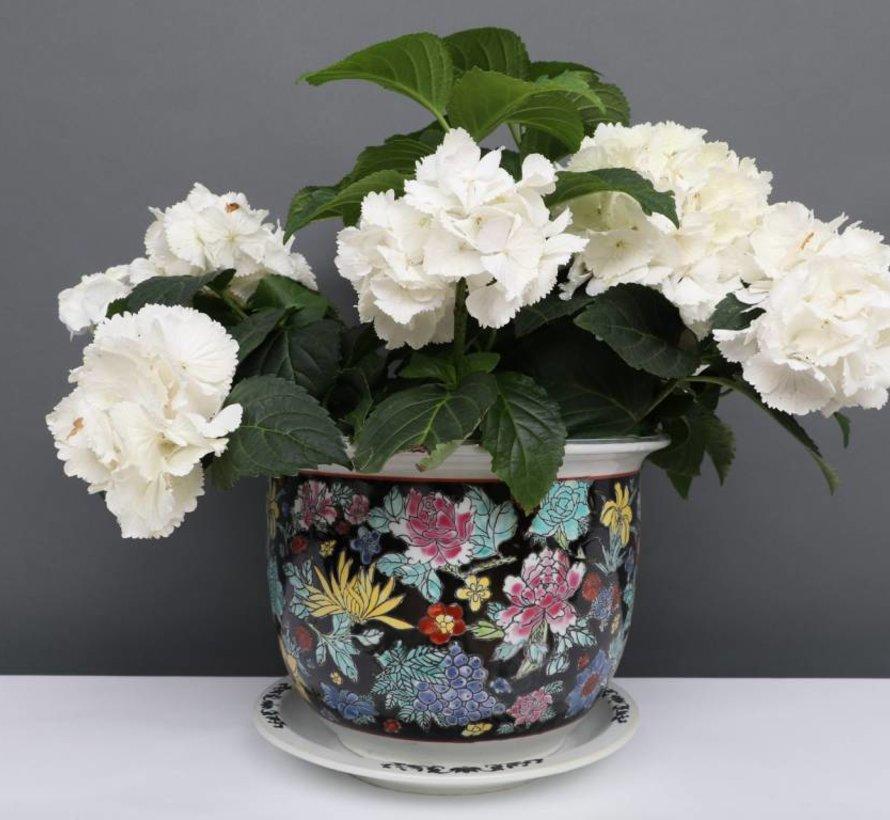 China Porzellan Blumentopf Schwarz mit bunten Blumen Ø 33cm