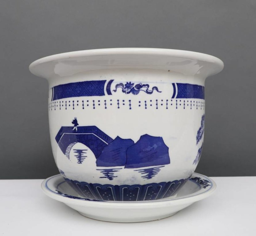 China Porzellan Blumentopf Blau-Weiß mit Landschaft Ø 40cm