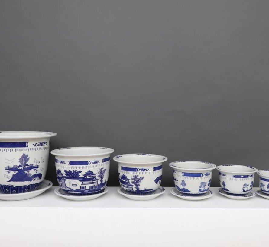 China Porzellan Blumentopf Blau-Weiß mit Landschaft Ø 33cm
