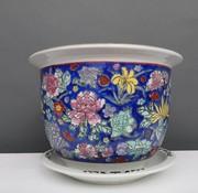 Yajutang Blumentopf Blau mit bunten Blumen Ø 40cm