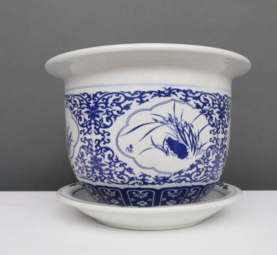 China Porzellan Blumentopf Blau-Weiß mit Vier Blumen Ø 40cm