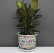 Yajutang Flowerpot white & colorful flowers Ø 40