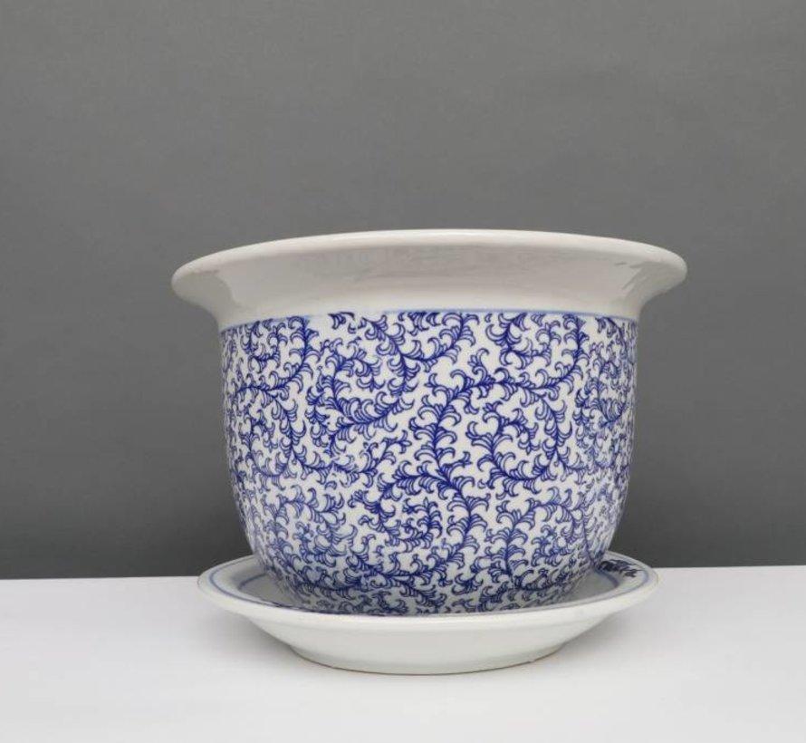 China Porzellan Blumentopf Blau-Weiß schnecken Blätter Ø 33cm