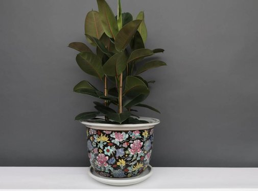 Yajutang Flowerpot black & colorful flowers Ø 40