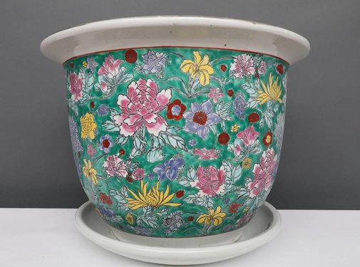 Yajutang Flowerpot green & colorful flowers Ø 40