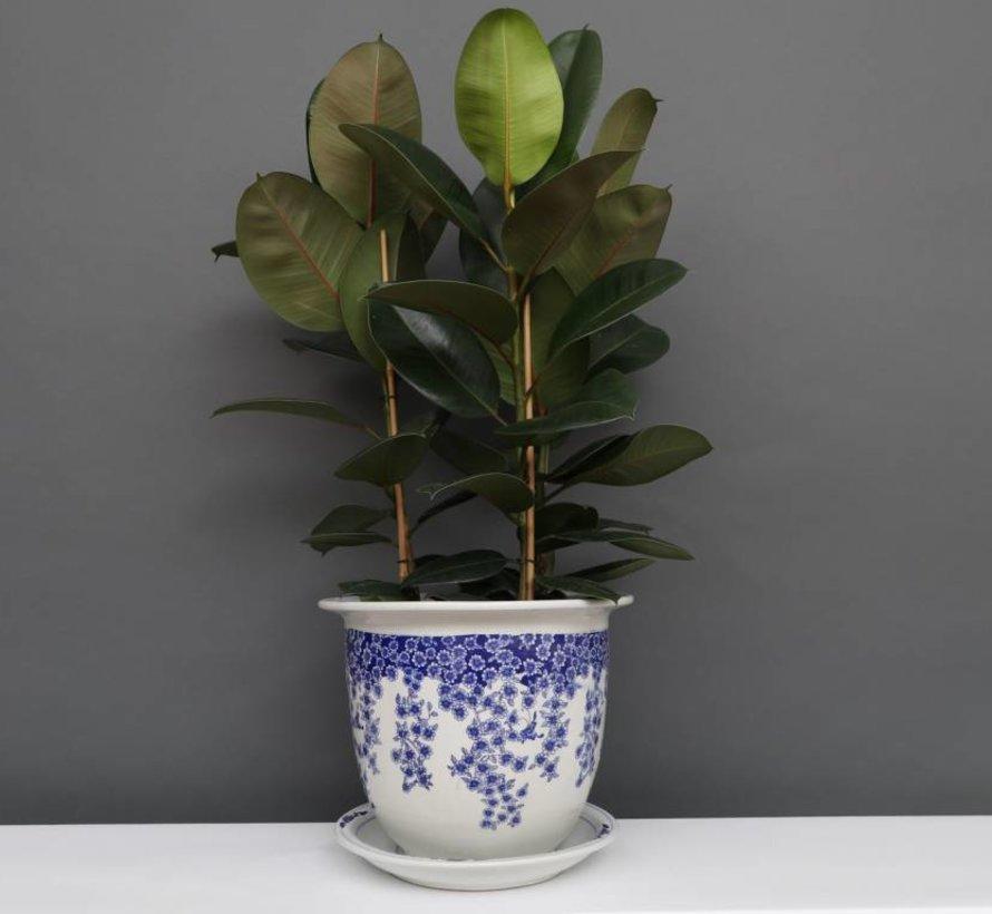 China Porzellan Blumentopf Blau-Weiß mit Schmetterling Ø 28cm