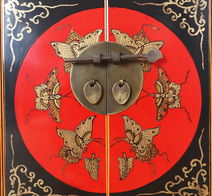 chinesische Kommode Sideboard 1 Schublade 2 Türen bemalt schwarz