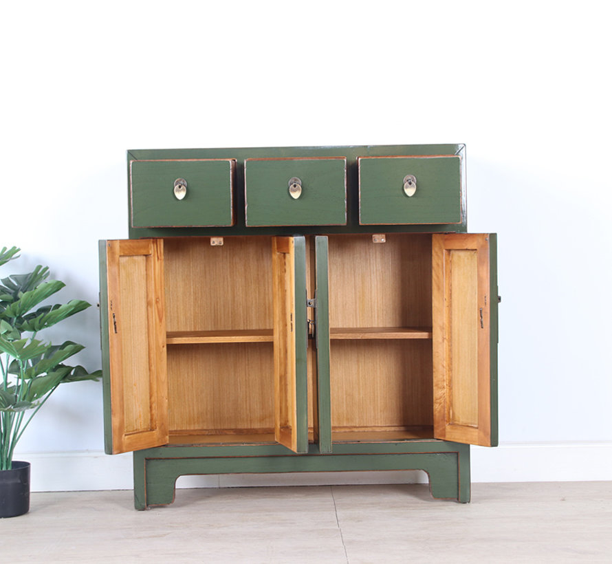 Chinese dresser 25 cm Deep Oriental / Asian style olive-green