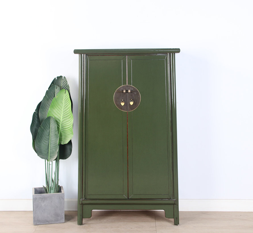 Chinese wedding cabinet 2 doors oliv green