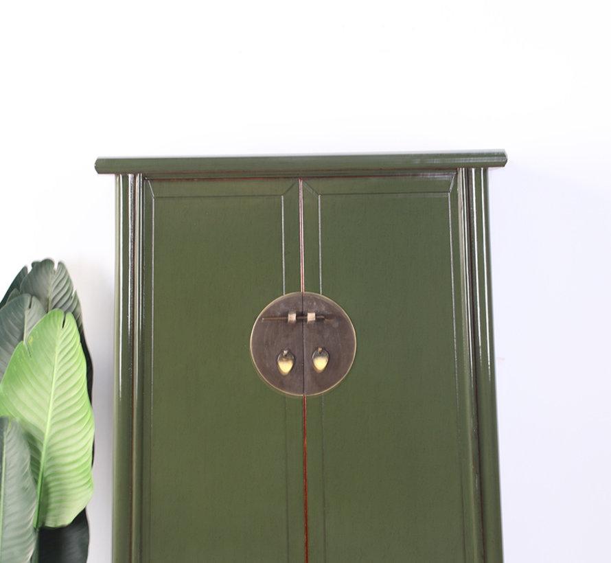 Chinesischer Hochzeitschrank 2 Türen olivgrün