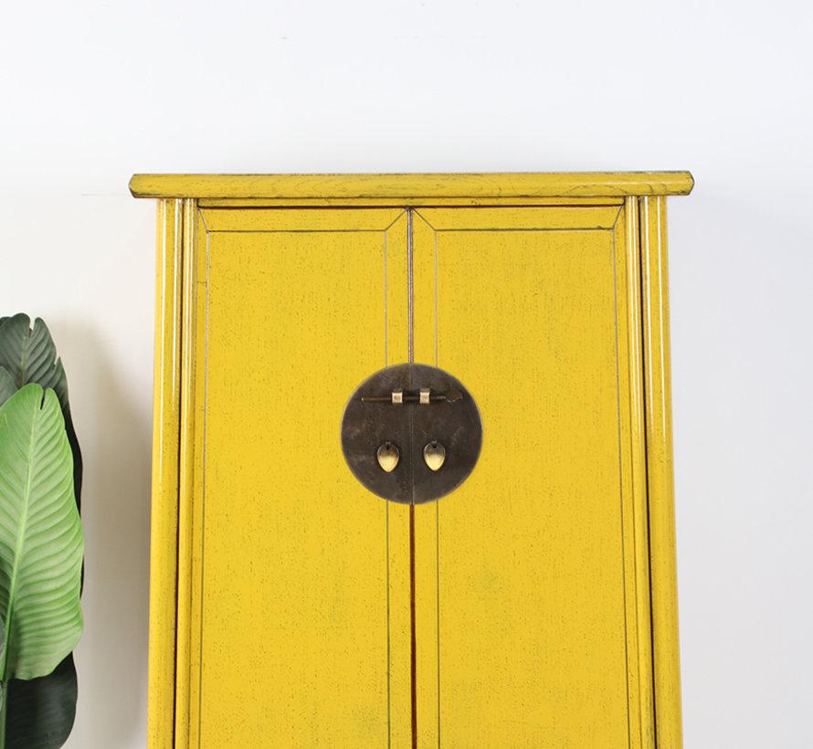 Chinesischer Hochzeitschrank 2 Türen gelbe