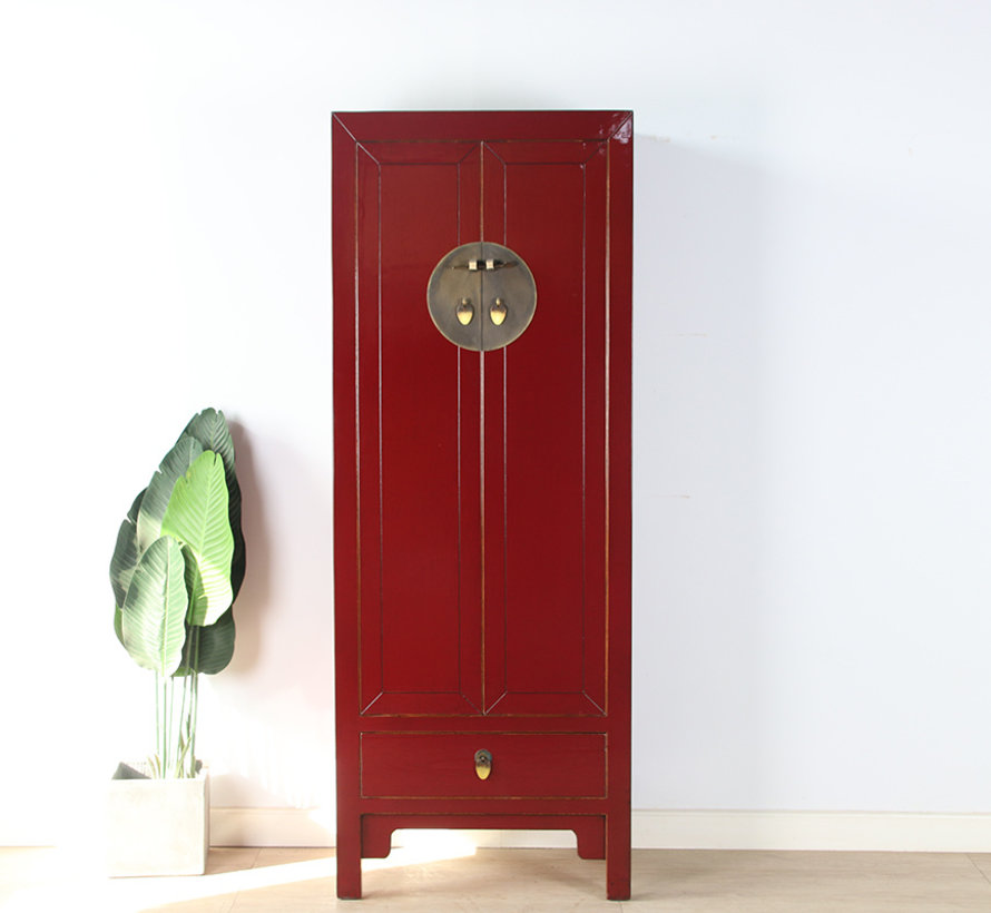 Chinesischer Hochzeitschrank 2 Türen 1 Schublade purpurrot
