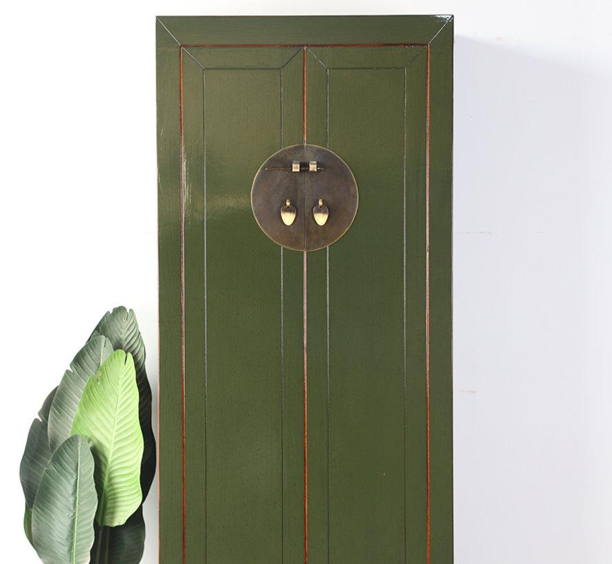 Chinesischer Hochzeitschrank 2 Türen 1 Schublade olivgrün