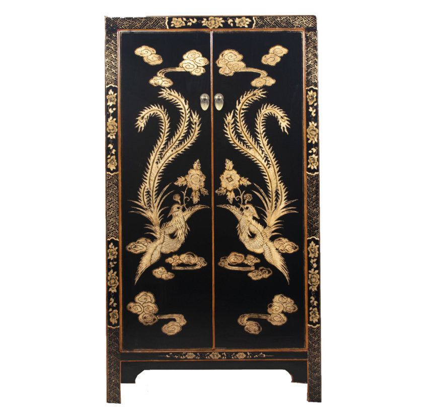 Cabinet with hand painting phoenix black