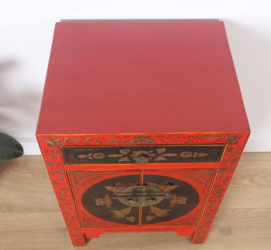 chinesische Kommode Sideboard 1 Schublade 2 Türen bemalt rot