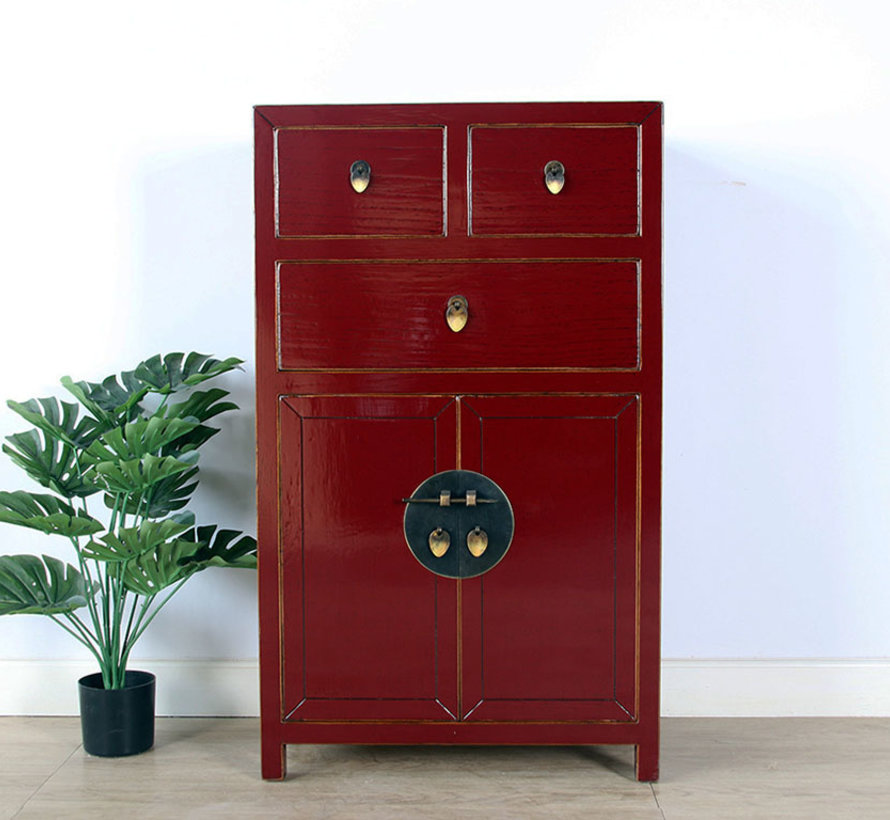 chinesische Kommode Sideboard 3 Schubladen 2 Türen purpurrot