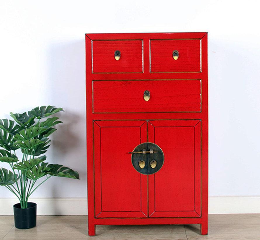chinesische Kommode Sideboard 3 Schubladen 2 Türen rot
