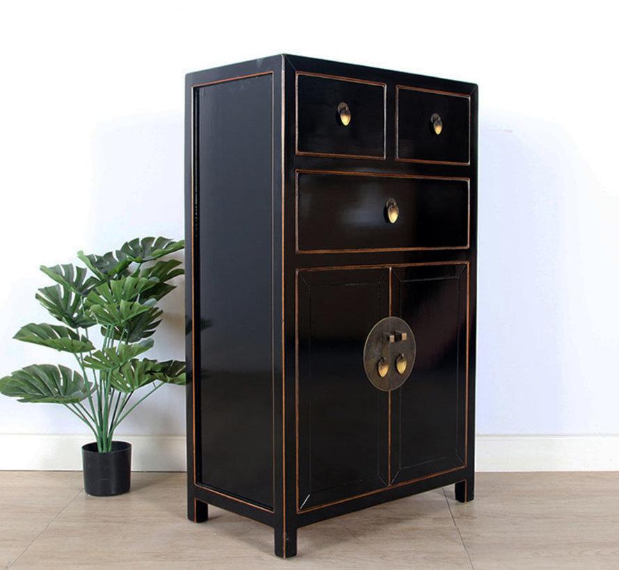 chinesische Kommode Sideboard 3 Schubladen 2 Türen schwarz