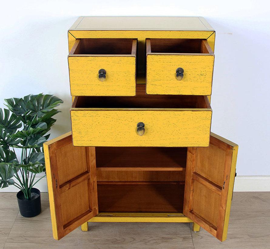 chinesische Kommode Sideboard 3 Schubladen 2 Türen gelb
