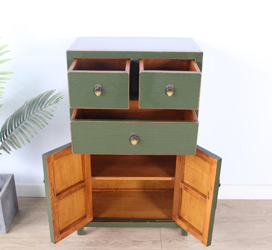 chinesische Kommode Sideboard 3 Schubladen 2 Türen olivgrün