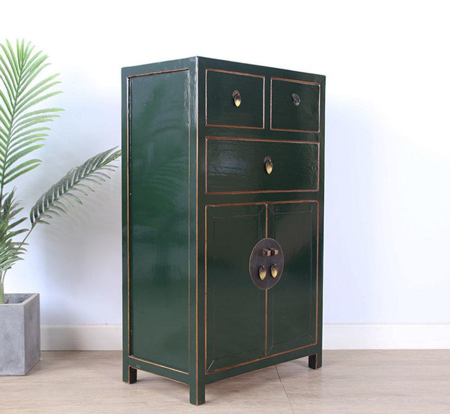 chinesische Kommode Sideboard 3 Schubladen 2 Türen tannengrün