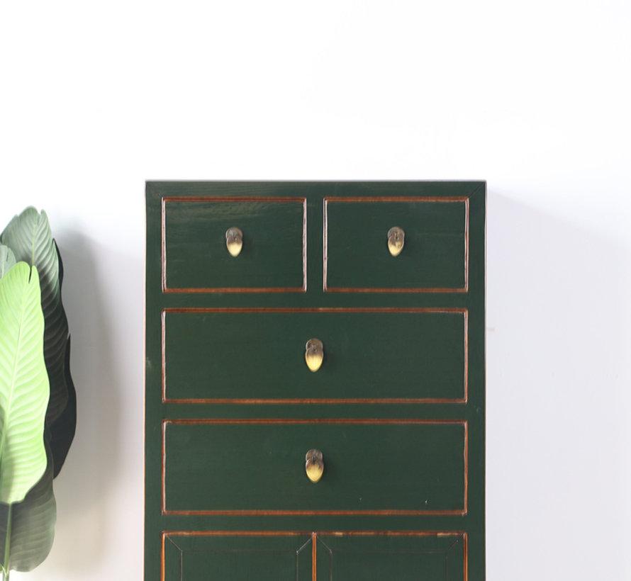 chinesische Kommode Sideboard 4 Schubladen 2 Türen  tannengrün