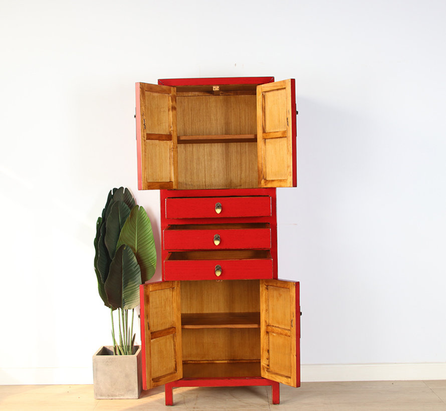 Chinese wedding cabinet  solid wood red