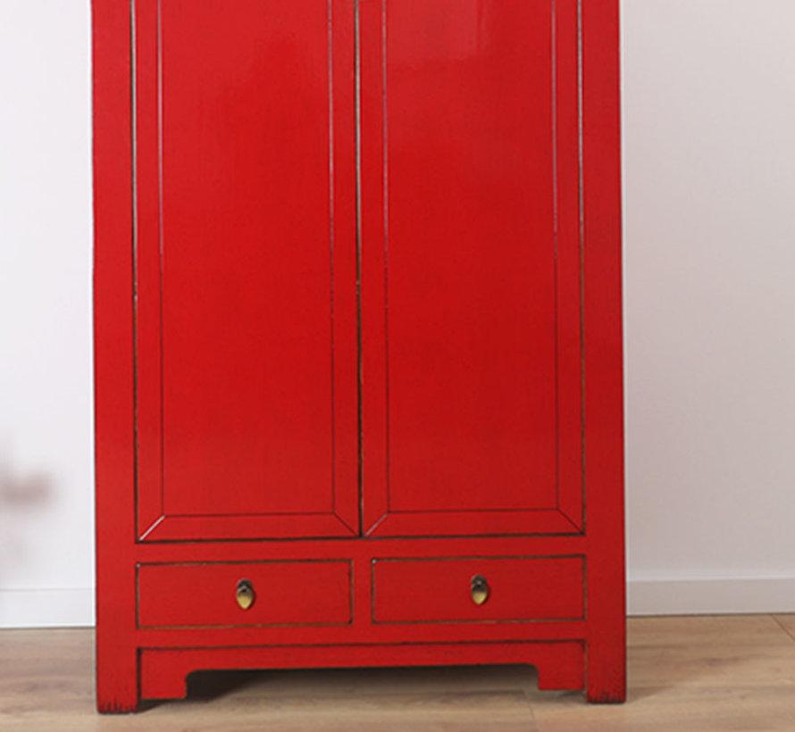 Chinesischer Hochzeitsschrank 2 Türen 2 Schubladen rot