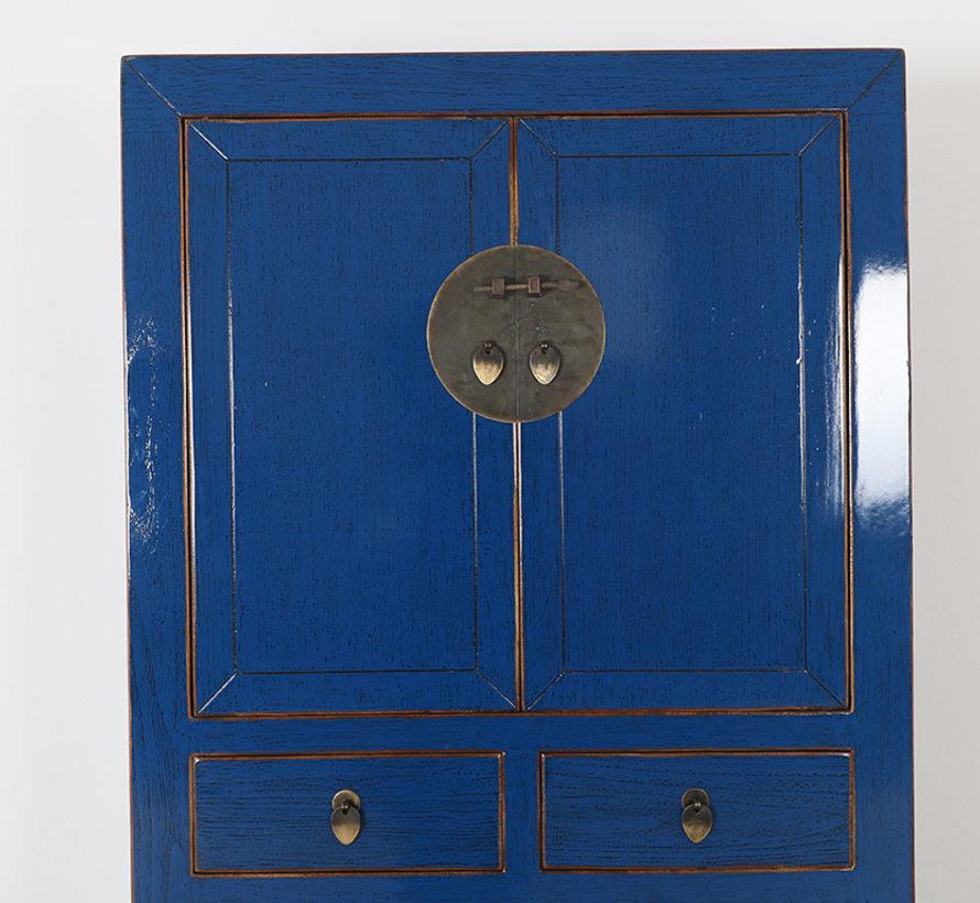 Chinesische Kommode Hochzeitschrank  Massivholz  blau