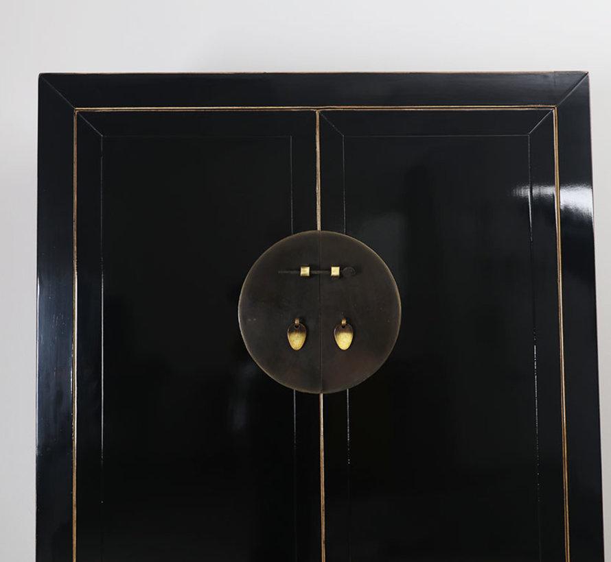 Chinesischer Hochzeitsschrank 2 Türen 2 Schubladen schwarz