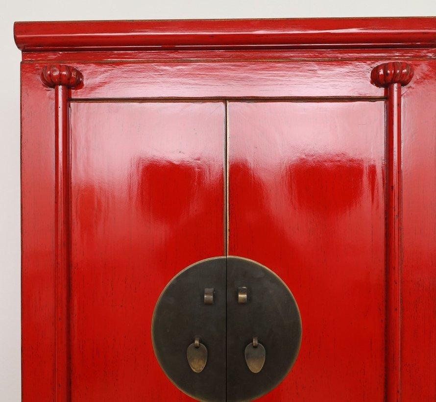 Chinesische Hochzeitschrank 2 Türen 1 Schubladen  Schrank rot