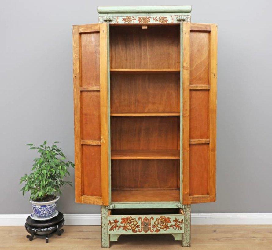 Chinesischer Hochzeitsschrank 2 Türen 1 Schublade bemalt