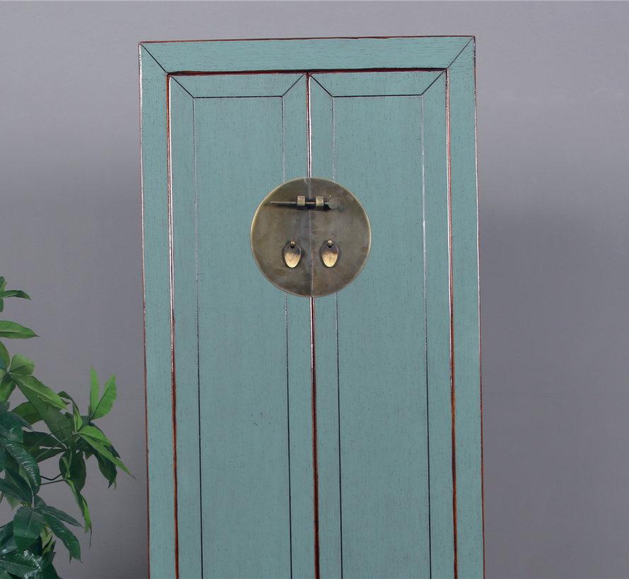 Chinesischer Hochzeitschrank 2 Türen 1 Schublade grau