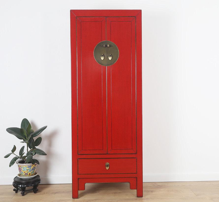 Chinesischer Hochzeitschrank 2 Türen 1 Schublade rot