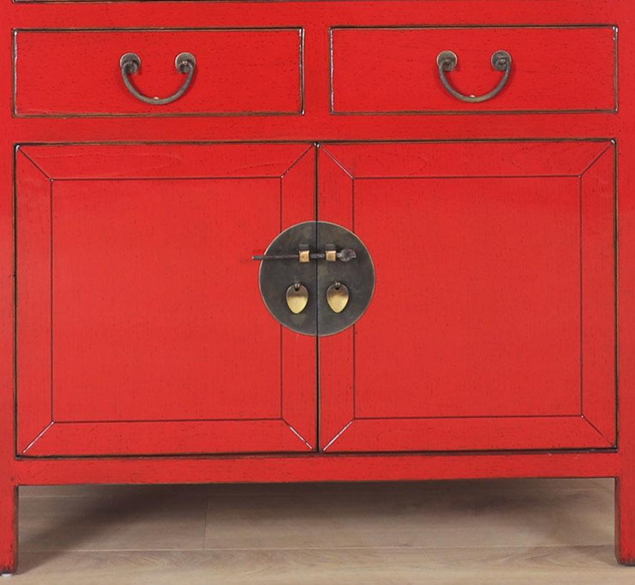 Chinesischer Hochzeitsschrank 4 Türen 2 Schubladen rot