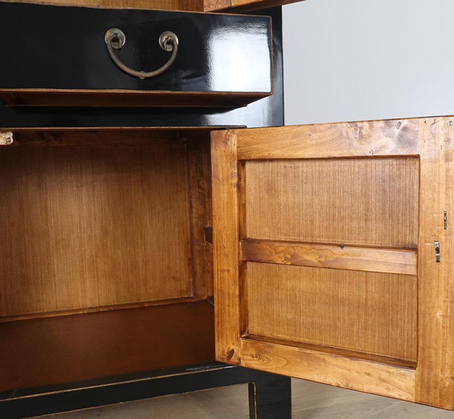 Chinese wedding cabinet 4 doors 2 drawers black