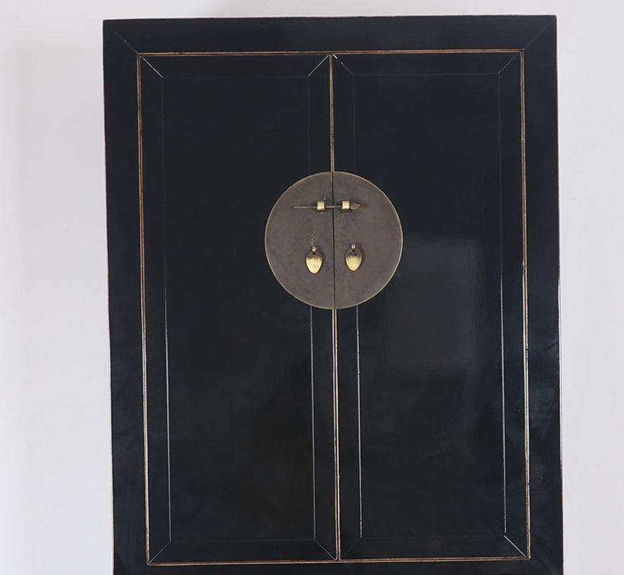Chinesischer Hochzeitsschrank 4 Türen 2 Schubladen schwarz