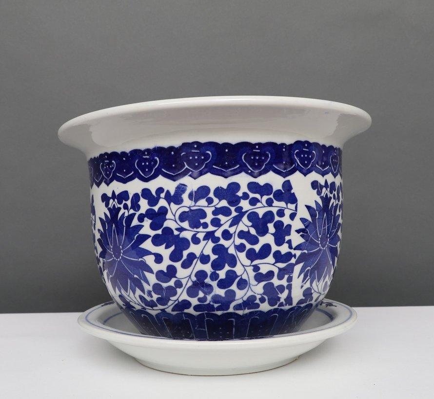 China Porzellan Blumentopf Blau-Weiß mit Lotusblumen Ø 24cm