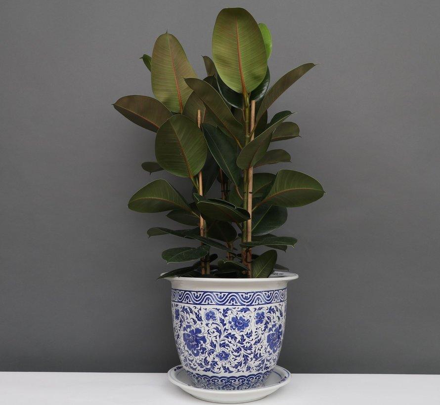 China Porzellan Blumentopf Blau-Weiß mit Nelken blumen Ø 33cm
