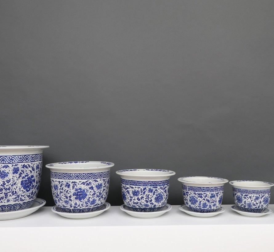 China Porzellan Blumentopf Blau-Weiß mit Nelken blumen Ø 24cm